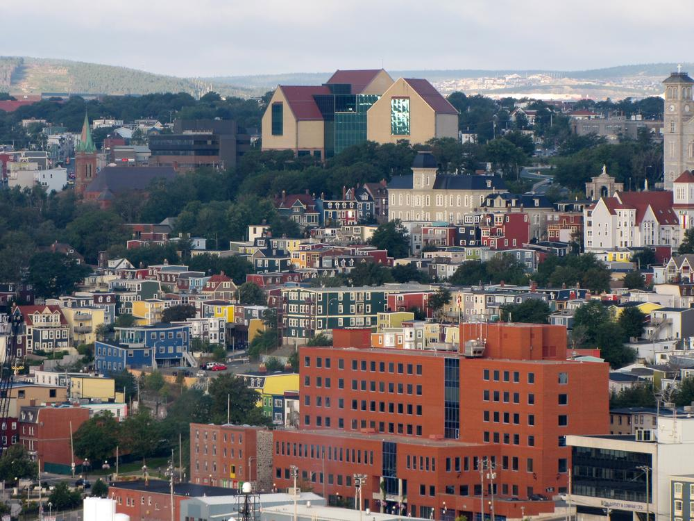 The multi-coloured clapboard houses of St. John's seen from Signal Hill